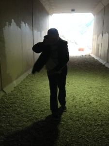 Walking through the windy tunnel under 7th East. You'll basically be walking like this the whole way.